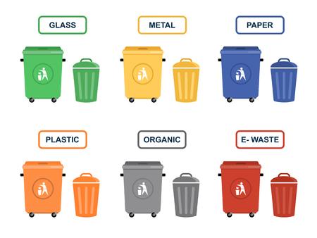botes de basura: latas de basura del vector ilustraciones planas. Separar basuras. La ecología y el concepto de reciclaje. Botes de basura aisladas sobre fondo blanco