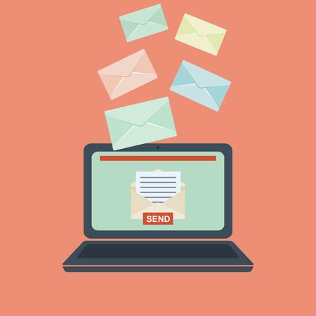 receiving: Email illustration. Sending or receiving email concept illustration. flat design. Email marketing.