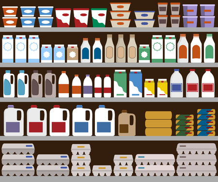 dairy products: Supermarket shelves with dairy products. Illustration