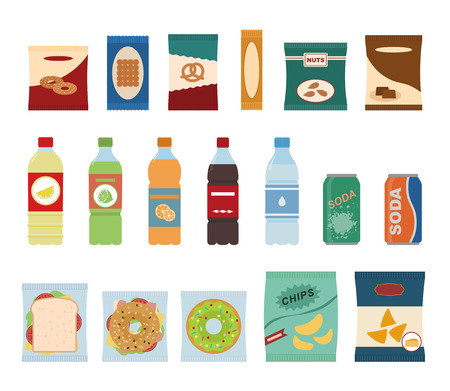 Fast food snacks and drinks flat icons. Vending machine with chip.