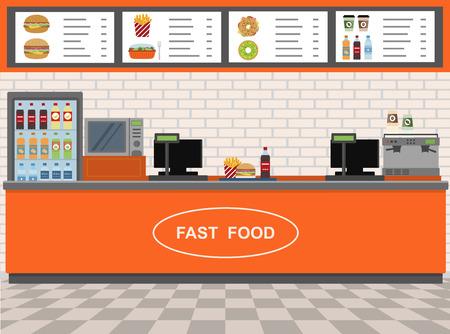 food shop: Fast Food and Express Cafe interior. Flat design illustration Illustration