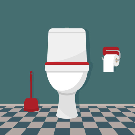 Toilet, toilet paper and brush. Vector illustration