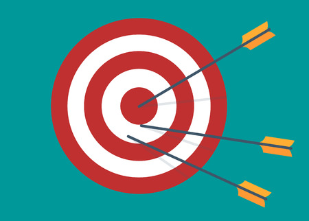 winning idea: Target with three arrows. Idea - Competition winning, Achievement, Victory and Business Success. Flat design vector illustration Illustration