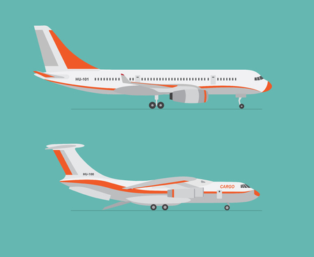 Airliner and cargo airplane on blue background. Flat style. Vector illustration.