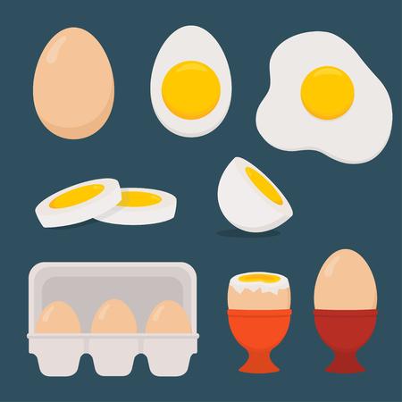 Eggs set isolated on dark blue background. Vector illustration. Flat design. Vektorové ilustrace