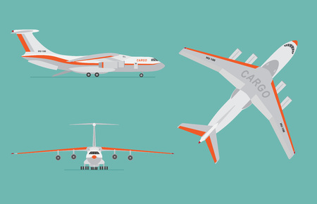 Cargo airplane on blue background. Airliner in top, side, front view. Flat style. Vector illustration. Illustration