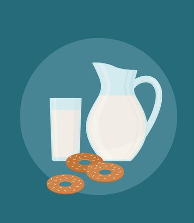 Milk jug, glass and cookies. Isolated on dark blue background. Flat style, vector illustration.