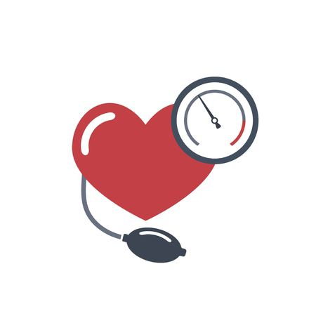 Cuore, misurazione della pressione sanguigna. Immagine piatta vettoriale su sfondo bianco. Vettoriali