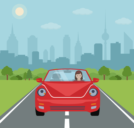 Young woman driving a red car on city background. Vector illustration.