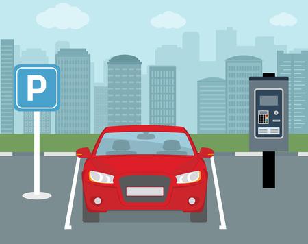 Parkeerplaats met een auto en kaartautomaat. Platte stijl, vectorillustratie.