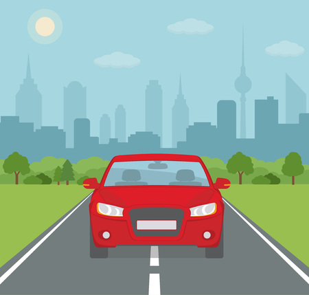 Picture of car on the road with city silhouette on background. Flat style, vector illustration. Illustration