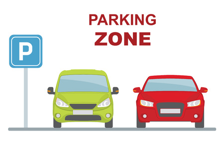urban area: Parking zone with two cars on white background. Flat style, vector illustration.