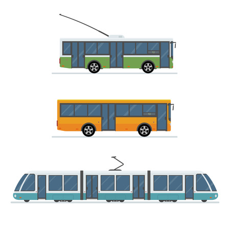 Flat style concept of public transport. Set of city trolley bus, bus and tram isolated on white background. Vector illustration. Stock Vector - 80233601