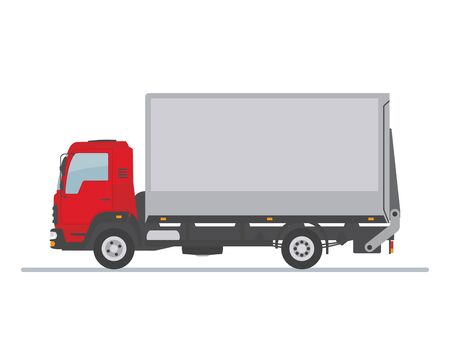 Delivery truck isolated on white background. Flat style, vector illustration.