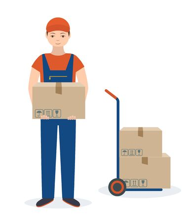 Delivery man with cardboard box and push cart. Isolated on white background. Flat style, vector illustration. Illustration