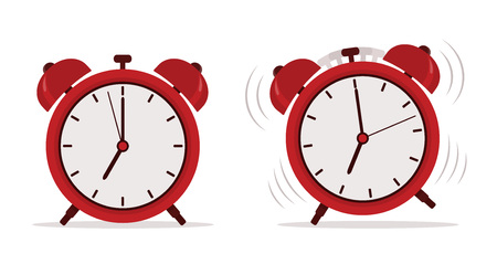 Alarm clock in flat style. Vector illustration.