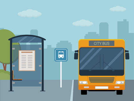 the roadside: Picture of bus on the bus stop. Illustration