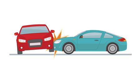 Auto Ongeluk Met Twee Auto S Geisoleerd Op Een Witte Achtergrond