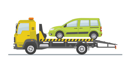 Green car on tow truck, isolated on white background. Flat style, vector illustration.