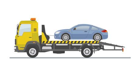 Blauwe sportwagen op slepenvrachtwagen, die op witte achtergrond wordt geïsoleerd. Vlakke stijl, vectorillustratie.