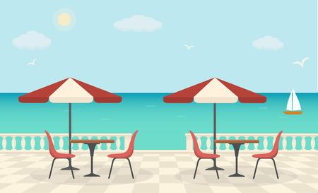 Cafe on the terrace near the sea. Vektorové ilustrace