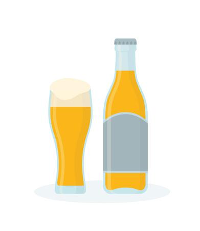 Glass of beer and bottle illustration. Illustration