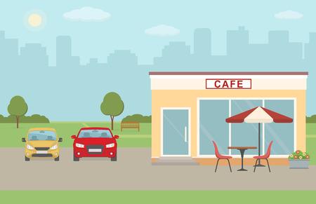 city lights: Cafe building with parking  illustration. Illustration