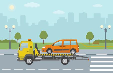 Orange Auto auf Abschleppwagen, auf Stadthintergrund. Vektor-Illustration.