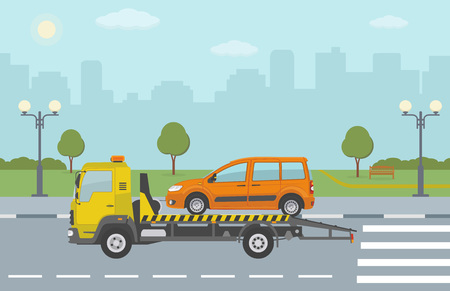 Orange car on tow truck, on city background. Vector illustration.