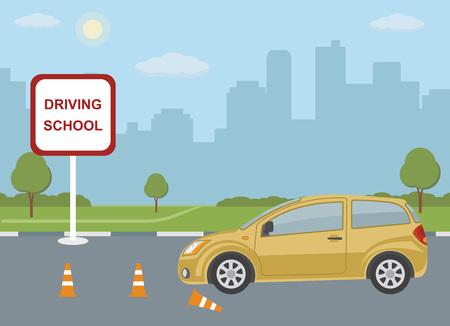 Fahrschulekonzept mit Auto auf Stadthintergrund. Vektor-Illustration.