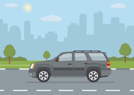 Gray off-road car on city background. Vector illustration.