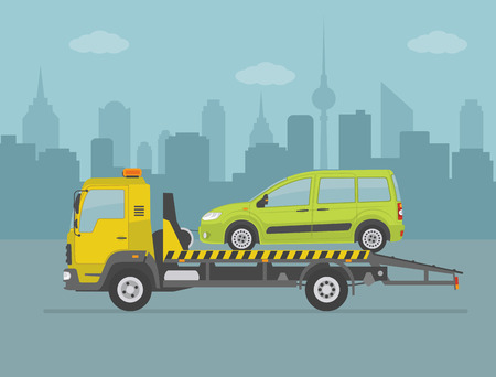 Green car on tow truck, on city background. Vector illustration. Illustration