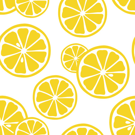Seamless pattern with lemons on the white background. Great for print on fabric. Vector illustration. Illustration