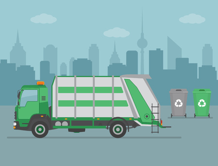Garbage truck and garbage cans on city background. Ecology and recycle concept. Vector illustration.