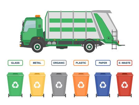 Garbage truck and garbage cans ecology and recycle concept illustration.