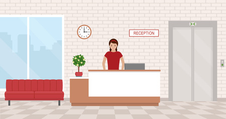 Office interior with reception and waiting area. Flat style, vector illustration. Illusztráció