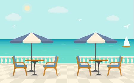 Café op het terras dichtbij de zee.