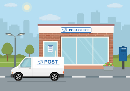 Post office building, delivery truck and mailbox on city background. Flat style, vector illustration.