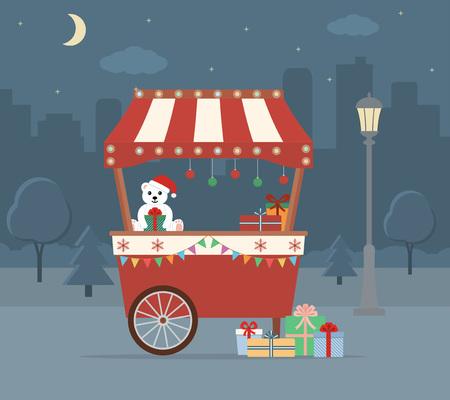 Christmas Market on city background. Flat style, vector illustration. Vettoriali