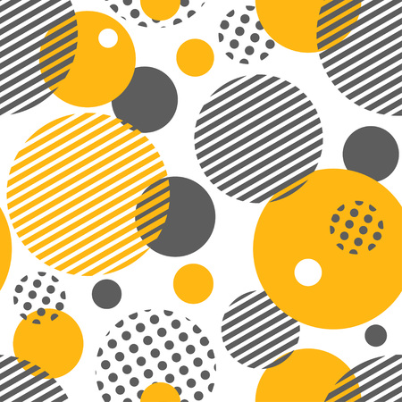 Geometric seamless pattern with circles, stripes, dots. Pattern for fashion and wallpaper. Vector illustration.