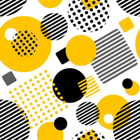 円、正方形、ストライプ、ドットを持つ幾何学的シームレスなパターン。ファッションや壁紙のためのパターン。ベクトルイラスト。