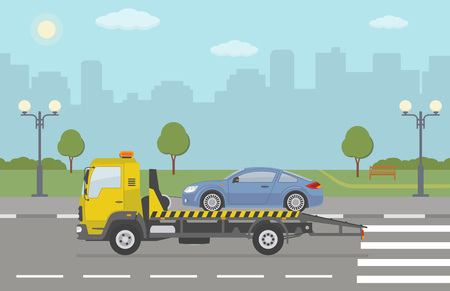 Blue sports car on tow truck, on city background. Vector illustration. Illustration