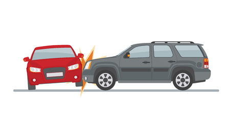 Auto accident involving two cars, isolated on white background Vector illustration.