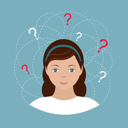 Pretty young woman with lots of doubts and question marks around her. Isolated on blue background. Vector illustration. Vettoriali