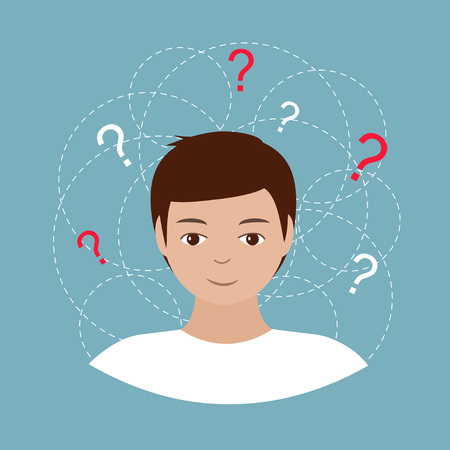 Pretty young man with lots of doubts. Isolated on blue background. Vector illustration. Vettoriali