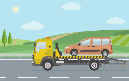 Rural landscape with a road and moving tow truck. Flat style vector illustration. Illustration