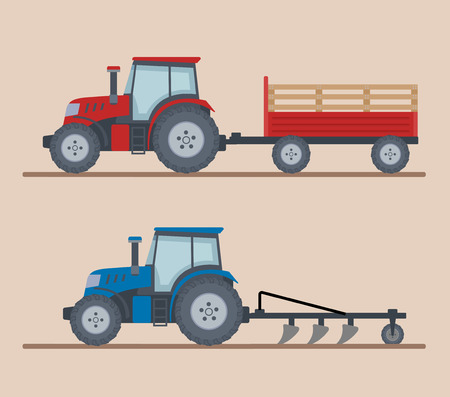 Two farm tractors isolated on beige background. Heavy agricultural machinery for field work. Flat style, vector illustration.