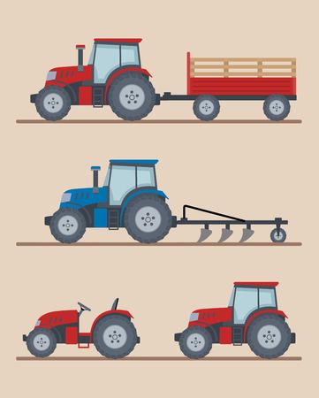 Ensemble de tracteurs agricoles isolés sur fond beige. Machines agricoles lourdes pour le travail sur le terrain. Style plat, illustration vectorielle. Vecteurs