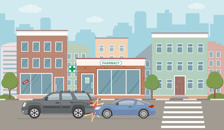 Auto accident involving two cars, on city background. Vector illustration. Stock Illustratie