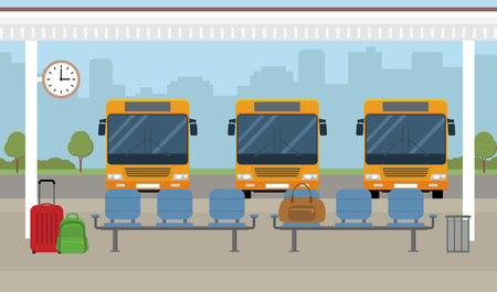 Bus station. Buses and waiting area on city background. Flat style, vector illustration. 免版税图像 - 95838393